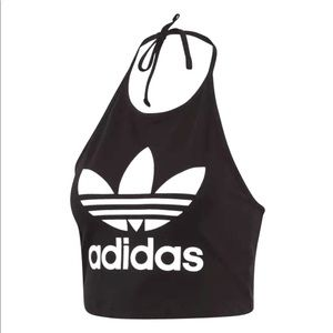 Adidas Trefoil Black Halter Top Size XL